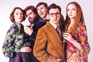 The Philanthropist. Image shows from L to R: Charlotte Ritchie, Matt Berry, Tom Rosenthal, Simon Bird, Lily Cole. Copyright: Shaun Webb.