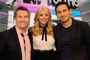 Play To The Whistle. Image shows from L to R: Bradley Walsh, Holly Willoughby, Frank Lampard OBE. Copyright: Hungry Bear Media.