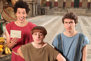 Plebs. Image shows from L to R: Stylax (Joel Fry), Grumio (Ryan Sampson), Marcus (Tom Rosenthal). Copyright: RISE Films.