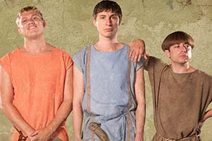 Plebs. Image shows from L to R: Jason (Jon Pointing), Marcus (Tom Rosenthal), Grumio (Ryan Sampson). Copyright: RISE Films.