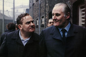 Porridge. Image shows from L to R: Fletcher (Ronnie Barker), Harry Grout (Peter Vaughan). Copyright: BBC.