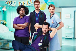 Porters. Image shows from L to R: Frankie (Susan Wokoma), Simon Porter (Edward Easton), Anthony De La Mer (Daniel Mays), Lucy (Claudia Jessie).