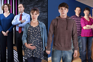 Pramface. Image shows from L to R: Janet Derbyshire (Anna Chancellor), Alan Derbyshire (Angus Deayton), Laura Derbyshire (Scarlett Alice Johnson), Jamie Prince (Sean Michael Verey), Keith Prince (Ben Crompton), Sandra Prince (Bronagh Gallagher).