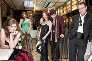 Pulling. Image shows from L to R: Donna (Sharon Horgan), Louise (Rebekah Staton), Karen (Tanya Franks), Billy (Paul Kaye), Karl (Cavan Clerkin). Copyright: Silver River.