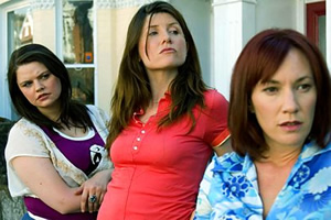 Pulling. Image shows from L to R: Louise (Rebekah Staton), Donna (Sharon Horgan), Karen (Tanya Franks). Copyright: Silver River.