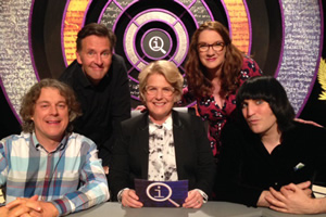 QI. Image shows from L to R: Alan Davies, Colin Lane, Sandi Toksvig, Sarah Millican, Noel Fielding.