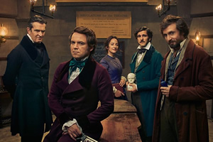 Quacks. Image shows from L to R: Dr. Hendrick (Rupert Everett), Robert (Rory Kinnear), Caroline (Lydia Leonard), William (Mathew Baynton), John (Tom Basden). Copyright: Lucky Giant.