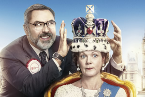 The Queen And I. Image shows from L to R: Jack Barker (David Walliams), The Queen (Samantha Bond). Copyright: King Bert Productions.