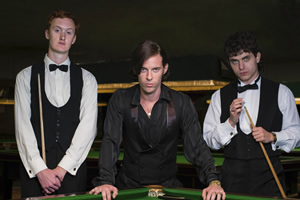 The Rack Pack. Image shows from L to R: Steve Davis (Will Merrick), Alex Higgins (Luke Treadaway), Jimmy White (James Bailey). Copyright: Zeppotron.