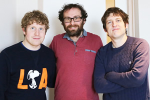 Radio 4 At The Machynlleth Comedy Festival With Elis James. Image shows from L to R: Josh Widdicombe, Henry Widdicombe, Elis James. Copyright: Little Wander.