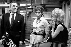 The Rag Trade. Image shows from L to R: Harold Fenner (Peter Jones), Paddy (Miriam Karlin), Carole (Sheila Hancock).