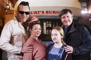Ratburger. Image shows from L to R: Burt (David Walliams), Sheila (Sheridan Smith), Zoe (Talia Barnett), Gary (Mark Benton). Copyright: King Bert Productions.