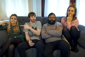 Reaction Crew. Image shows from L to R: Brianne (Harriet Kemsley), Brian (Ian Smith), Mark (Sunil Patel), Abbey (Lucy Pearman). Copyright: Turtle Canyon Comedy.