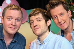 The Really Welsh Quiz. Image shows from L to R: Miles Jupp, Elis James, Chris Corcoran. Copyright: Small and Clever.