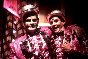 Red Dwarf. Image shows from L to R: Kryten (Robert Llewellyn), Rimmer (Chris Barrie). Copyright: BBC.