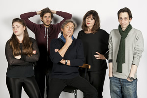 Reluctant Persuaders. Image shows from L to R: Laura (Olivia Nixon), Joe (Mathew Baynton), Hardacre (Nigel Havers), Amanda (Josie Lawrence), Teddy (Rasmus Hardiker). Copyright: ABsoLuTeLy Productions.