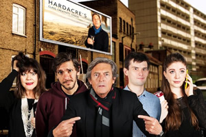 Reluctant Persuaders. Image shows from L to R: Amanda (Josie Lawrence), Joe (Mathew Baynton), Hardacre (Nigel Havers), Teddy (Kieran Hodgson), Laura (Olivia Nixon). Copyright: ABsoLuTeLy Productions.