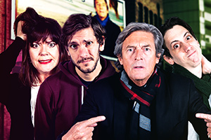 Reluctant Persuaders. Image shows from L to R: Amanda (Josie Lawrence), Joe (Mathew Baynton), Hardacre (Nigel Havers), Teddy (Rasmus Hardiker). Copyright: ABsoLuTeLy Productions.