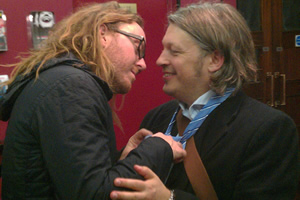 Richard Herring's Leicester Square Theatre Podcast. Image shows from L to R: Tim Minchin, Richard Herring.