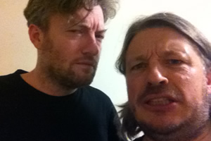 Richard Herring's Leicester Square Theatre Podcast. Image shows from L to R: Charlie Brooker, Richard Herring.