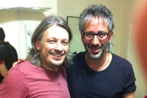 Richard Herring's Leicester Square Theatre Podcast. Image shows from L to R: Richard Herring, David Baddiel.