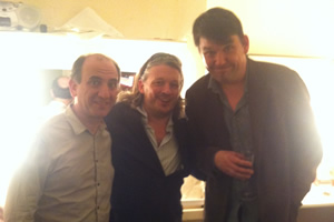 Richard Herring's Leicester Square Theatre Podcast. Image shows from L to R: Armando Iannucci, Richard Herring, Graham Linehan.