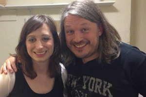 Richard Herring's Leicester Square Theatre Podcast. Image shows from L to R: Isy Suttie, Richard Herring.