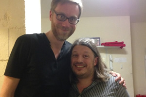 Richard Herring's Leicester Square Theatre Podcast. Image shows from L to R: Stephen Merchant, Richard Herring.