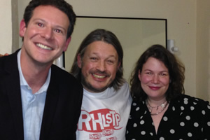 Richard Herring's Leicester Square Theatre Podcast. Image shows from L to R: Oliver Mann, Richard Herring, Helen Zaltzman.