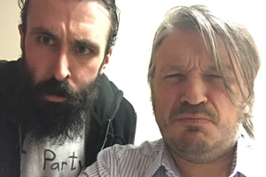 Richard Herring's Leicester Square Theatre Podcast. Image shows from L to R: Scroobius Pip, Richard Herring.