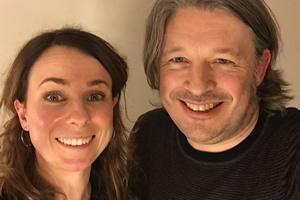 Richard Herring's Leicester Square Theatre Podcast. Image shows from L to R: Cariad Lloyd, Richard Herring.