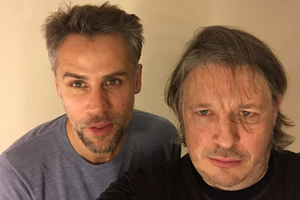 Richard Herring's Leicester Square Theatre Podcast. Image shows from L to R: Richard Bacon, Richard Herring.