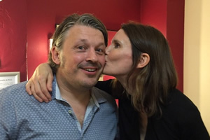 Richard Herring's Leicester Square Theatre Podcast. Image shows from L to R: Richard Herring, Susie Dent.