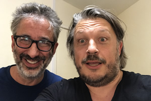 Richard Herring's Leicester Square Theatre Podcast. Image shows from L to R: David Baddiel, Richard Herring.