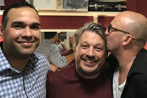 Richard Herring's Leicester Square Theatre Podcast. Image shows from L to R: Craig Quartermaine, Richard Herring, Brendon Burns.