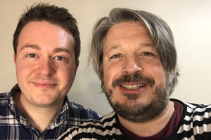 Richard Herring's Leicester Square Theatre Podcast. Image shows from L to R: Johann Hari, Richard Herring.