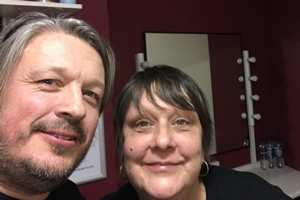 Richard Herring's Leicester Square Theatre Podcast. Image shows from L to R: Richard Herring, Kathy Burke.