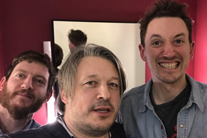 Richard Herring's Leicester Square Theatre Podcast. Image shows from L to R: Elis James, Richard Herring, John Robins.