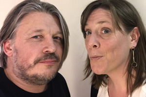 Richard Herring's Leicester Square Theatre Podcast. Image shows from L to R: Richard Herring, Jess Phillips.