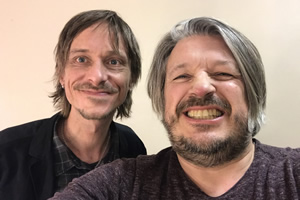 Richard Herring's Leicester Square Theatre Podcast. Image shows from L to R: Mackenzie Crook, Richard Herring.