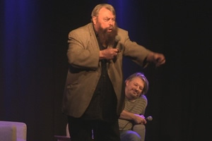 Richard Herring's Leicester Square Theatre Podcast. Image shows from L to R: Brian Blessed, Richard Herring.