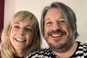 Richard Herring's Leicester Square Theatre Podcast. Image shows from L to R: Maria Bamford, Richard Herring.