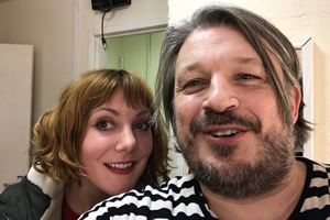 Richard Herring's Leicester Square Theatre Podcast. Image shows from L to R: Sophie Willan, Richard Herring.