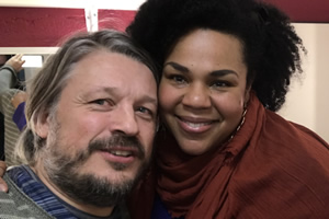 Richard Herring's Leicester Square Theatre Podcast. Image shows from L to R: Richard Herring, Desiree Burch.