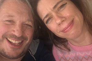 Richard Herring's Leicester Square Theatre Podcast. Image shows from L to R: Richard Herring, Lou Sanders.