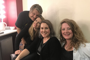 Richard Herring's Leicester Square Theatre Podcast. Image shows from L to R: Richard Herring, Catie Wilkins, Taylor Glenn, Hannah George.