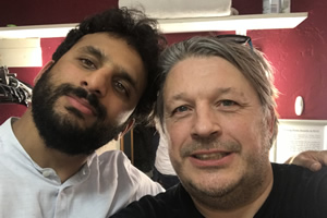Richard Herring's Leicester Square Theatre Podcast. Image shows from L to R: Nish Kumar, Richard Herring.