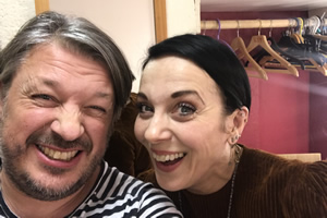 Richard Herring's Leicester Square Theatre Podcast. Image shows from L to R: Richard Herring, Amanda Abbington.