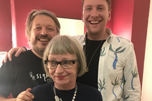 Richard Herring's Leicester Square Theatre Podcast. Image shows from L to R: Richard Herring, Esme Young, Joe Lycett.