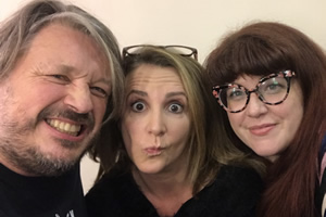 Richard Herring's Leicester Square Theatre Podcast. Image shows from L to R: Richard Herring, Lucy Porter, Jenny Ryan.